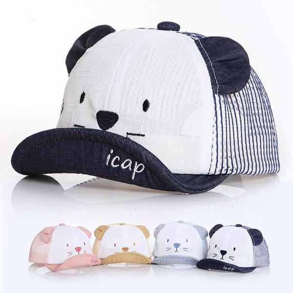Baby Cute Mesh Baseball Cap Fashion Comfortable Travel Cats Sunhat Kids Outdoor Adjustable Breathable Sport Ball Hat LJJ_TA789