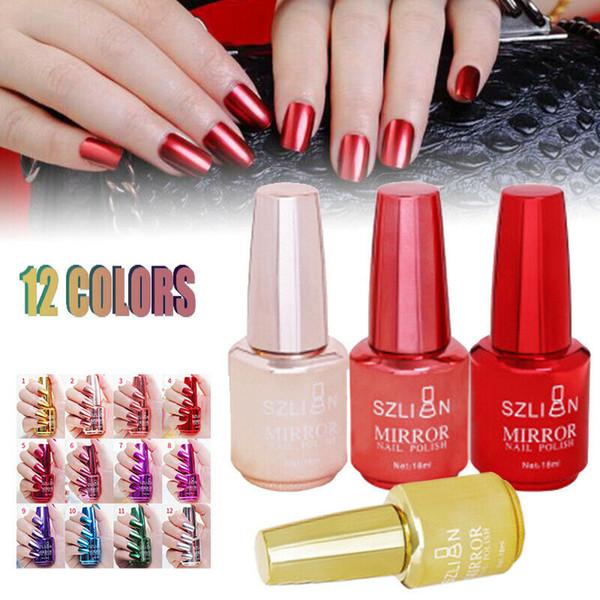 18ml Metallic Mirror Nail Polish Purple Red Green Gray Soak Off Uv Gel Polish Glue Manicure Nail Art Varnish Tool Nagellak Best Nail Polish Brands