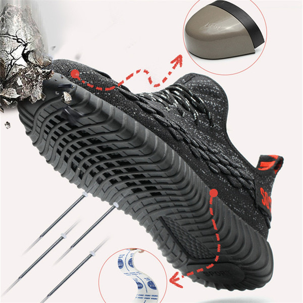 Safety Shoes Men Breathable Summer Mens Shoes Standard Steel Top Anti - Smash Anti - Puncture Work Shoes Steel Toe Work Boots