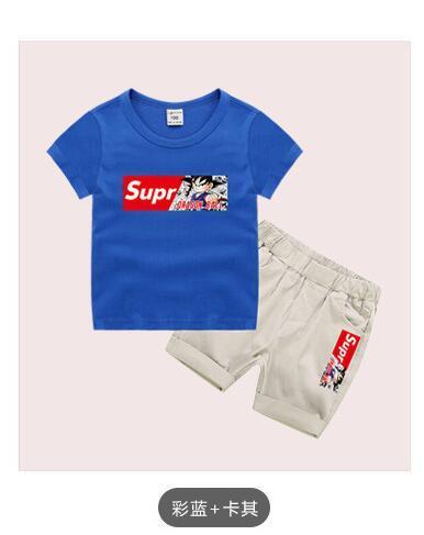 Vestido de verano temporada 2019 nueva camiseta para niños, pantalones cortos de dos piezas para niños pequeños y medianos delgados
