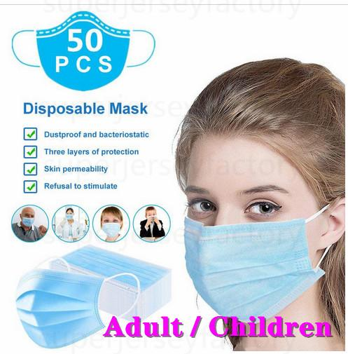 adult/children disposable face mask 3 ply 3layer 50 pcs 100 pcs mouth cover masks blue masks earloop non-woven fabric 10000 pieces wholesale