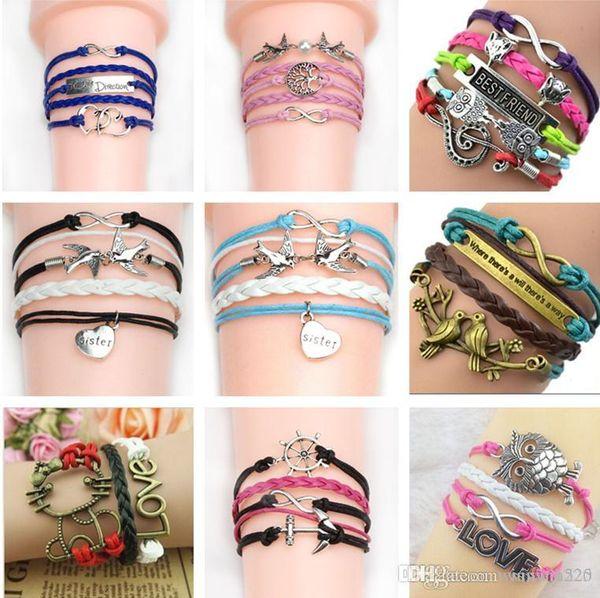 2019 Mix styles bracelets infinity bracelets Love Believe Pearl Friendship Charm Multilayer Charm Leather Bracelets women