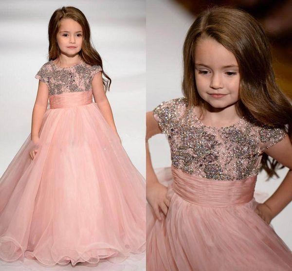Sevimli Pembe 2020 Küçük Kız Yarışması Parti Elbise Boncuk Kristaller Cap Kollu Mücevher Boyun Çiçek Kız Elbise A Hattı Çocuklar Örgün Önlük AL4160