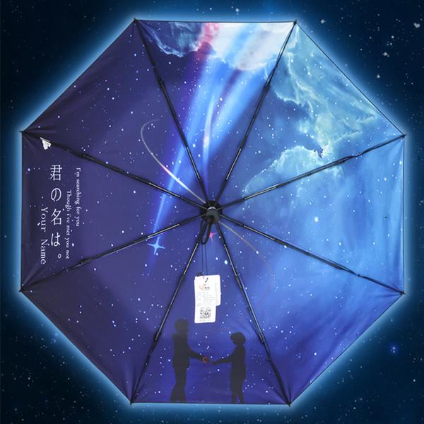 Anime Your Name Rain Sunny Paraguas Plegable Cosplay Accesorios Accesorios Negro Revestimiento Paraguas Parasol Para Amantes Chica Regalo de Cumpleaños