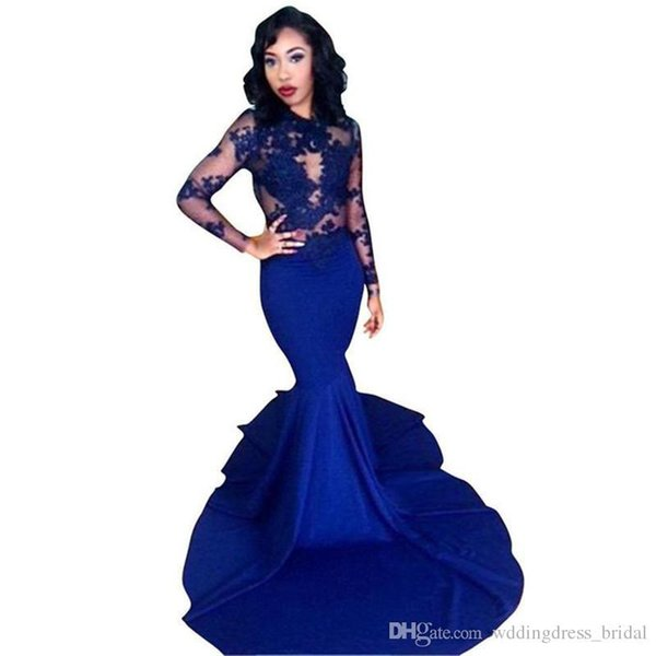Royal Blue Mermaid Long Sleeves Evening Dresses 2019 Sexy Illusion Bodice Robe De Soiree Formal Prom Gowns Wear Custom Made Plus Size