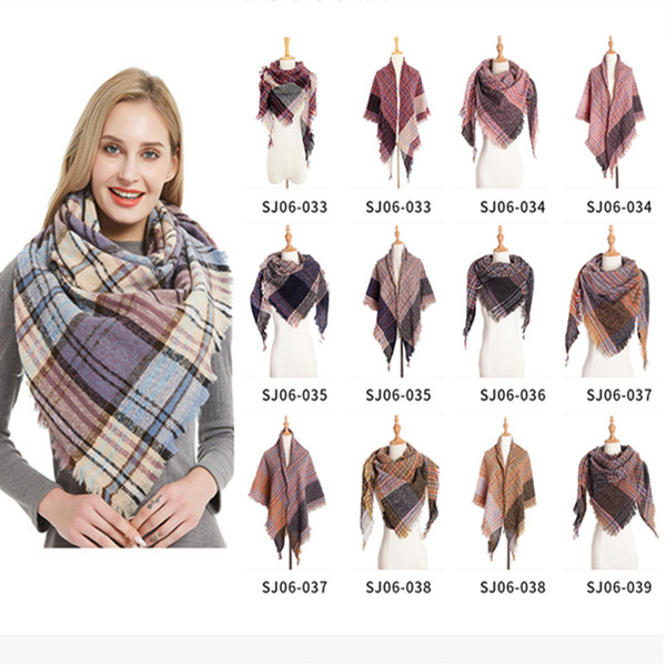 top popular Winter Scarf Women Plaid Scarf Designer Triangle Cashmere Shawls Women's Blanket Scarves LE367 2021