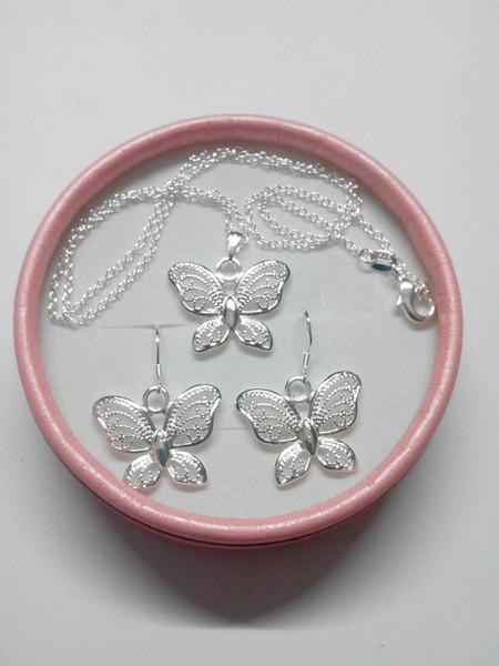 2019 neue Mode überzogen 925 Sterling Silber Schmetterling Anhänger Halsketten Ohrringe Schmetterling Schmuck Sets für Frauen 15 Set / lot