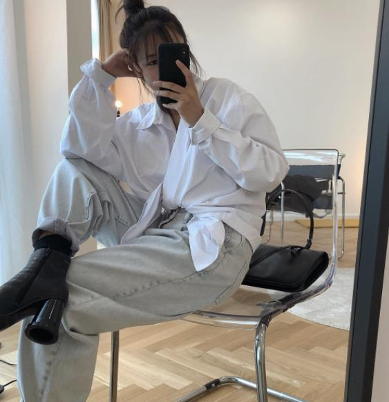 L'inizio dell'autunno del 2019 nuova coreana disegno senso risvolto oversize camicia bianca allentata fidanzato asimmetrica giacca donna