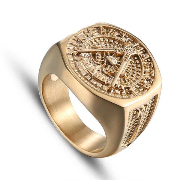 Gloss shineEuropeo e americano moda religione oro titanio massonico anelli in acciaio inox retrò uomini anelli all'ingrosso HZ140