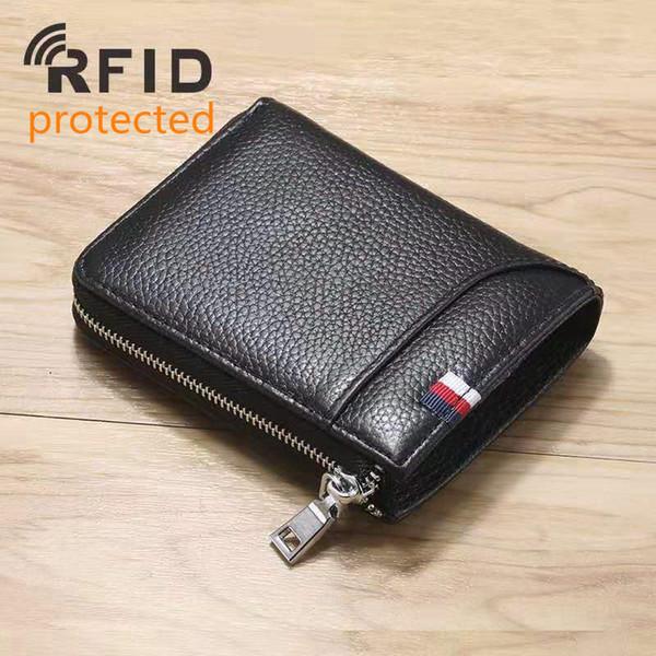 Rfid protected genuine leather men zipper de igner wallet male fa hion cow leather coin zero card pur e black coffee color no1156, Red;black
