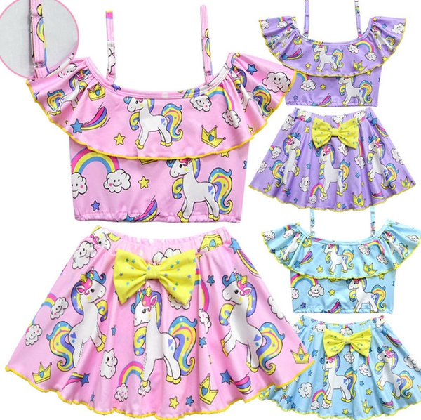 Girls unicorn swimsuits children stars Bows bikini swimming kids rainbow horse printed split swimwear girls cartoon SPA beachwear F4106