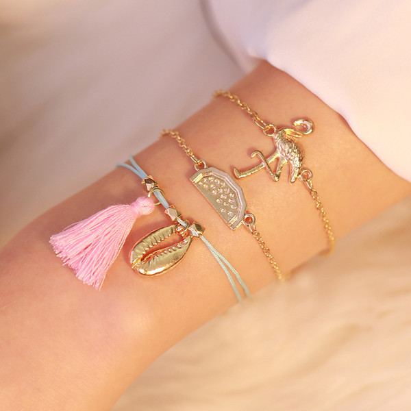 Braccialetto di fascino set gioielli regali 3 pezzi / set Braccialetti di uccelli bohemien set per le donne multistrato shell braccialetto di anguria