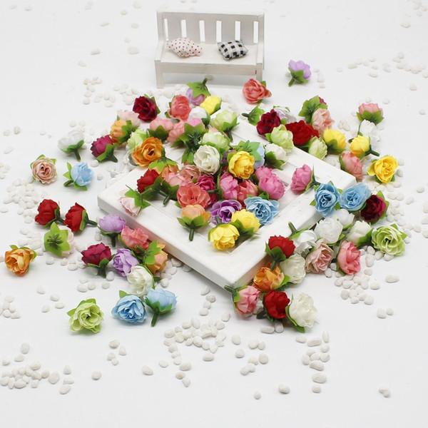 10 pcs/lot 2cm Artificial flowers silk flower small tea roses bud handmade flowers diy head garlands for wedding home decorati C18112601