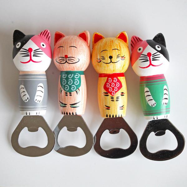 Abrebotellas de madera de dibujos animados Gato en forma de acero inoxidable Hogar Cocina Bar Herramienta Restaurante KTV Party Decor CT0361