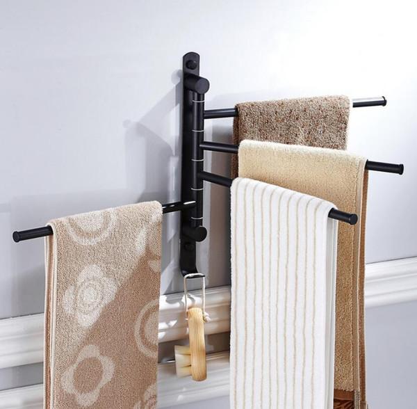 Bathroom Accessory Hand Towel Rack Holder Swivel Rail Bars Bath Clothes Wall Mount Hook Hanger Shelf Stainless Steel Black