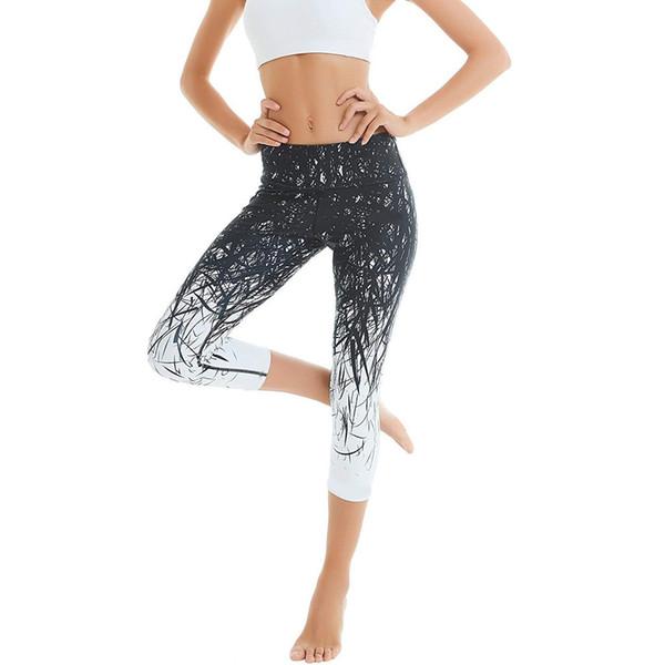 New Simple Women's Printing Hip High Waist yoga leggings Female Seven Points Yoga Pant Running Sports Pants legging sport femme