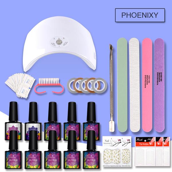 Gel Nail Set Set de Manucure 36w UV LED Lampe 8 Couleurs Gel Vernis à Ongles Kits Vernis Extension UV Kit Manucure