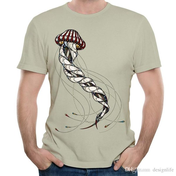 Sanat Tasarım çocuğun tee gömlek fantezi erkeklerin kısa kollu kazak yenilik tasarım hayvan baskı Denizanası Hayvan Po tişört O-boyun mens