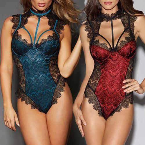 Femmes Lingerie Sexy Vêtements de Nuit Sous-Vêtements Robe à Lacets Combinaison Body