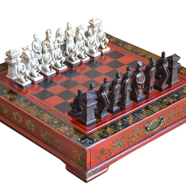 Classic Chinese Terracotta Warriors Wooden Chessboard Puzzle Cartoon Characters Chess Board Game Teenager Adult Birthday Gift Q190604