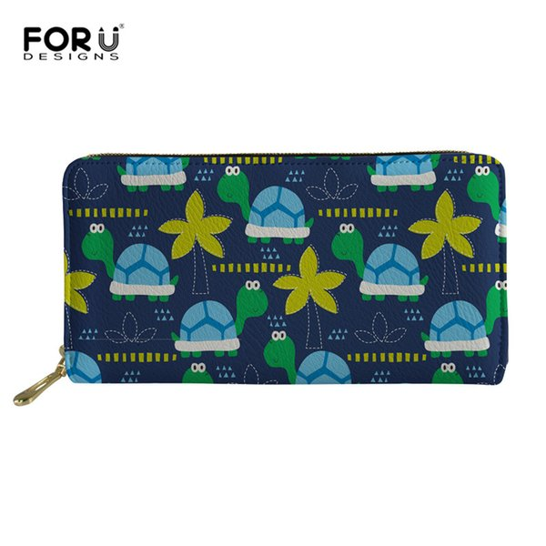 FORUDESIGNS Turtle Tortoise Women Wallets Zipper Lady Clutch Coin Purse Cards Holder Leather Brand Cat Woman Wallet Moneybags
