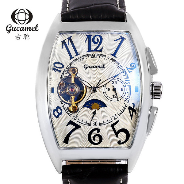 Cask Type Clock Dial Belt Man Wrist Watch Xingchentuo Free Wheel Back Disclose The Inside Story Fully Automatic Mechanics Wrist Watch