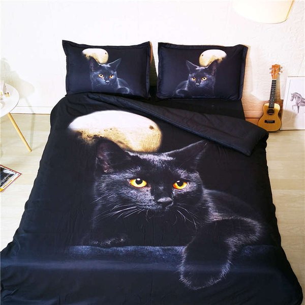 animal bedding set twin size cat moon 3D duvet cover black bed linens teenage bed galaxy bedspread home textile kids bedding set