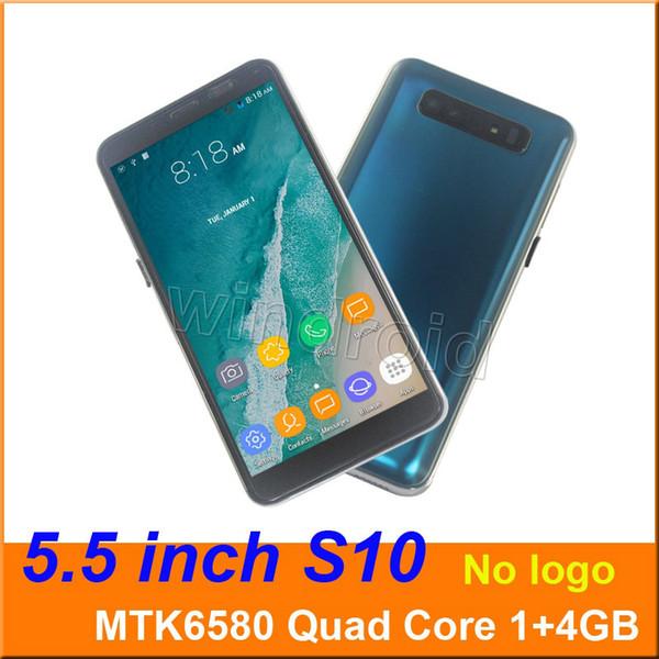 5,5 pouces S10 Quad Core Téléphone intelligent MTK6580 1 + 4G Android 7.0 Double SIM CAM 5MP 3G WCDMA Débloqué téléphone mobile Face déverrouiller 10pcs moins cher