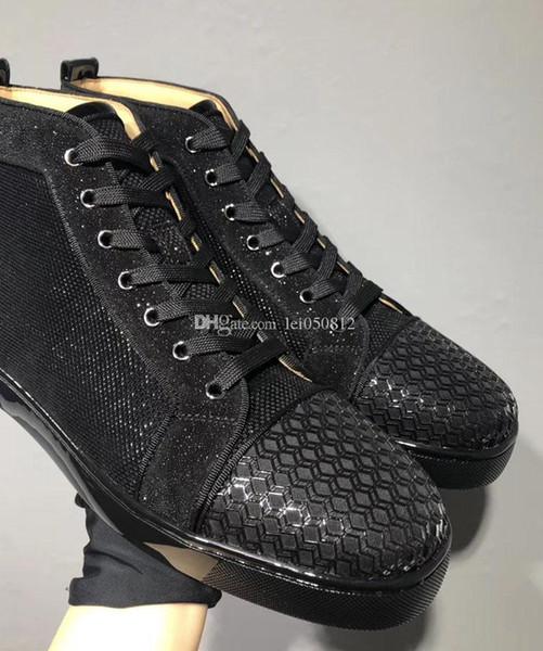 [Оригинальная коробка] Роскошные красные низ кроссовки Orlato мужские плоская черная лакированная кожа с ажурными блестками обувь для ходьбы на открытом воздухе