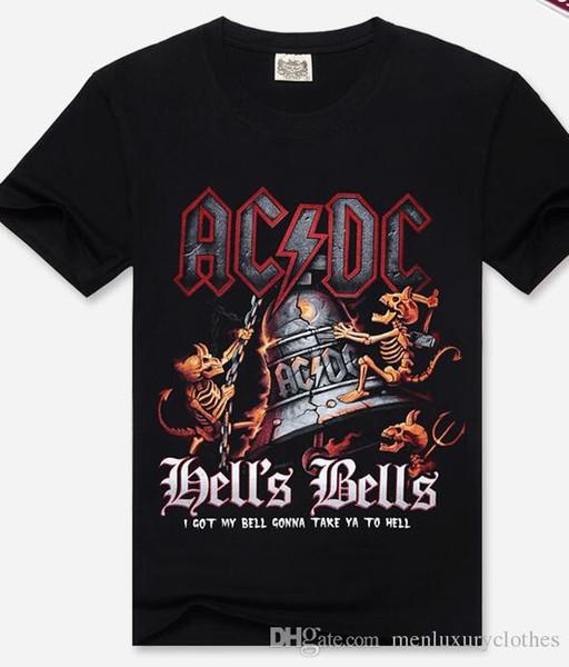 ACDC Mens 3D Dells Bells Imprimer Tshirt Black Summer Hauts de coton à manches courtes
