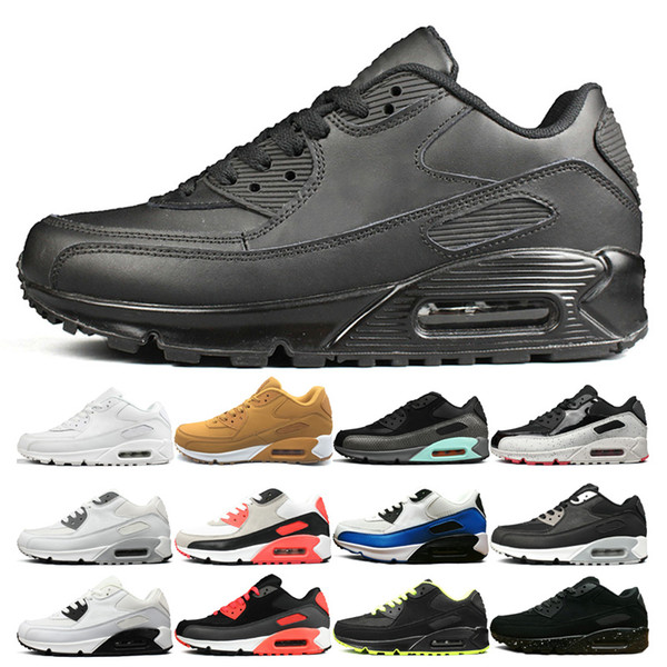 Großhandel Nike Air Max 90 Shoes Klassische Herren Triple Black Sneakers Schuhe Damen Alle Gelb Rot Weiß Blau Laufschuhe Luxus Sport Trainer Athletic