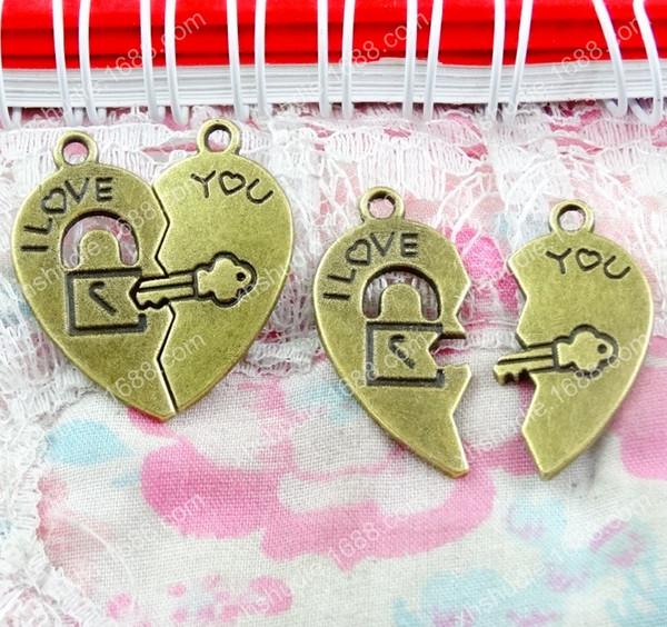 60pcs 30*27MM Antique bronze tibetan I love you heart lock key charms for bracelet vintage metal pendant earring handmade DIY jewelry making