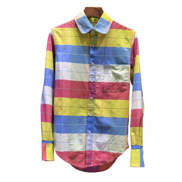 College wind 2019 new recommended rainbow striped lattice oxford fabric long-sleeved couple slim shirt