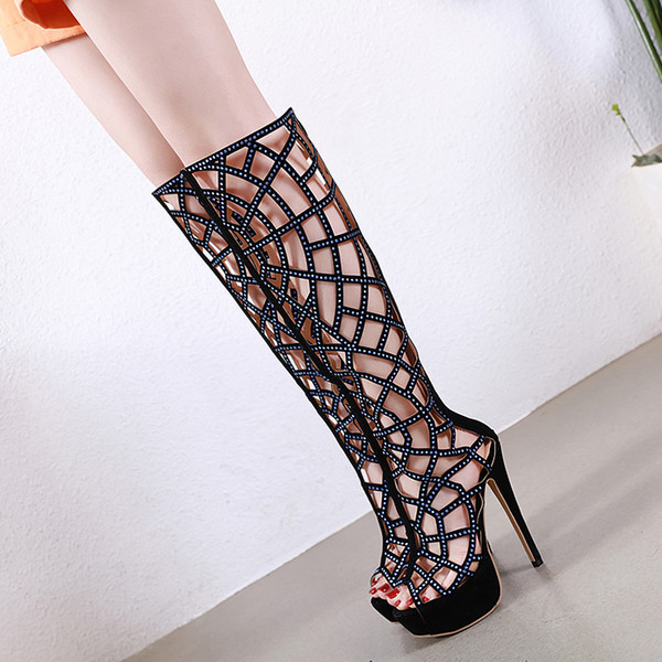 utterly stylish new appearance best wholesaler Plus Size 32 33 To 40 41 42 Black Rhinestone Hollow Out Open Toe ...