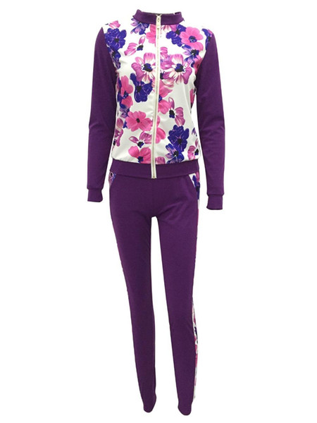 Mulheres Sportsuit 2 Piece Set Floral Imprimir Cortar Jacket + Pants Treino Set Casual para Mulheres Feminino Zipper Tops Roupa Terno de Fitness