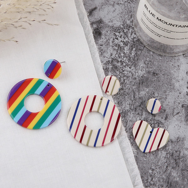 Min order 20pcs/lot color stripe print geometry rounds/hearts shape acrylic beads diy jewelry earring/necklace pendant accessory
