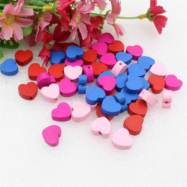 Cheap Beads Approx 13x14mm Wholesale Mixed Color Lead-free Heart Wood Beads for DIY Bracelet/Necklace Hole:approx 2 mm 50pcs/lot (K05436)