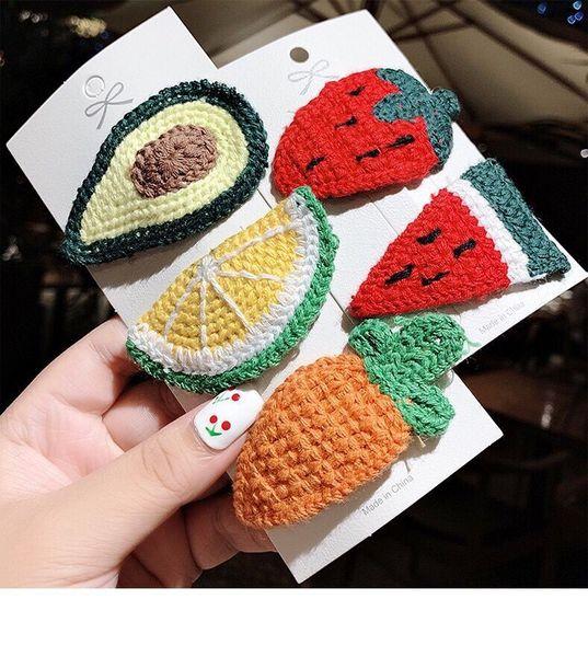 Korean Edition New Cloth ArtHair Clip Handmade Wool Fruit Cute Baby Cartoon BB Clip