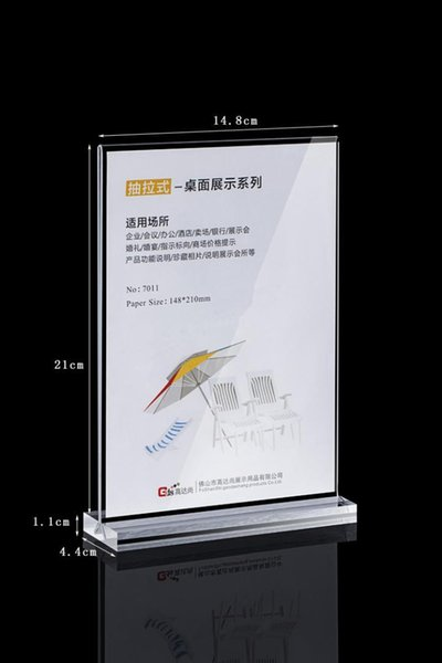 A5 Clear acrylic T-type table card display brand wine water card advertising poster display stand holder racks 10PCS/pack