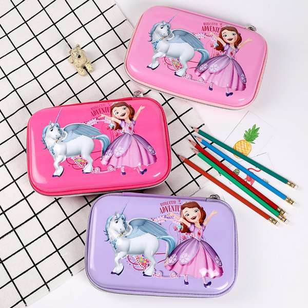 TOPSTHINK Girls Princess and unicorn pencil box flip gauze and multi-layer function pen box cute durable pencil case