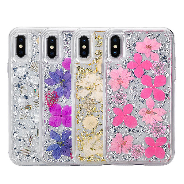 2in1 Luxury Gold Foil Glitter Case For iPhone XS MAX XR X 6s 7 8plus Pressed Dried Real Flower Disty Flowers Phone Cases