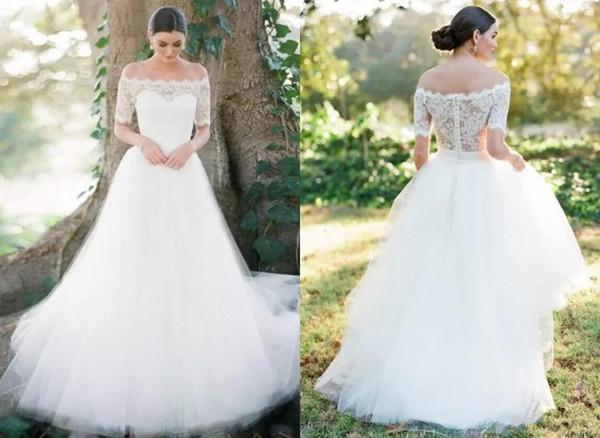 Hermoso país de encaje 2019 vestidos de novia vestidos de novia fuera del hombro mangas cortas nuevo apliques de tul vestidos de novia baratos