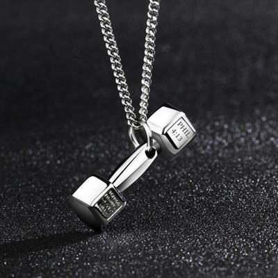 Punk Dumbbell Pendant Necklace Men Jewelry Women Gym Bodybuilding Weight Lifting Jewelry Charm Fitness Beautifully Necklace Mens Necklaces