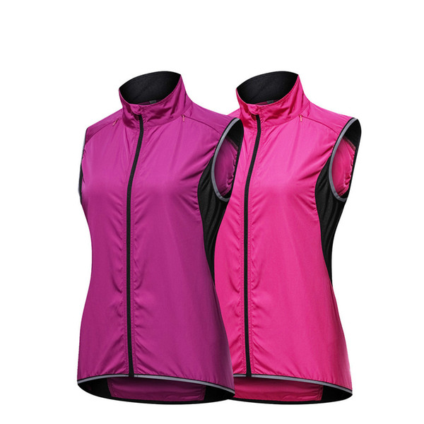 best selling New Pink Purple Cycling Vest Women Windbreaker Breathable Cycling Windstopper Reflective Vest Bike Bicycle Sleeveless Jersey