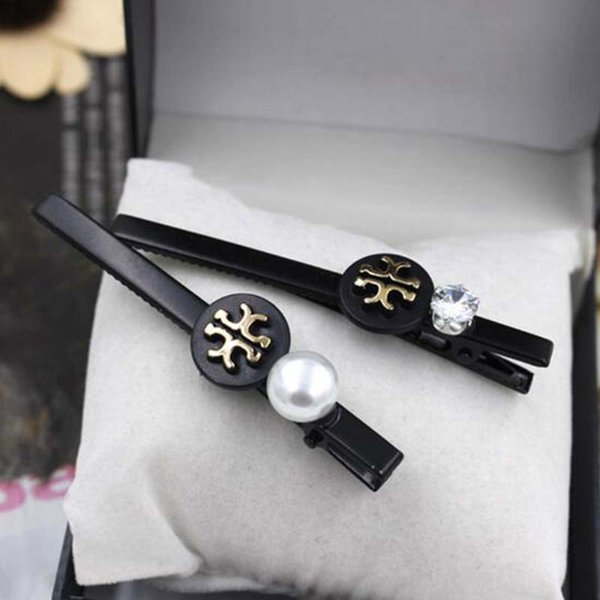 Trendy Crystal Pearl Barrettes Brand Letters Design Hair Clips Clamps Black Bobby Pins Women Girl Hair Jewelry Support Mix