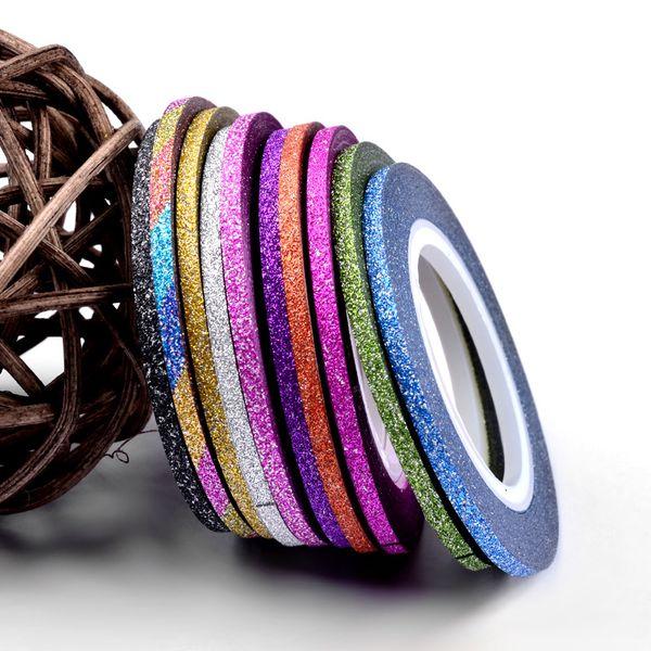 Striping Tape Linea Nail 1 millimetro scintillio di 12 colori Sticker Set di arte della decorazione fai da te Suggerimenti per Smalto Gel Strass Decorat M2142