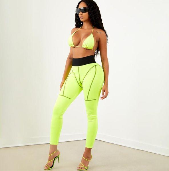 Yaz Moda Yeni kadın Pantolon Hit Renk Ince Kalça Yoga Spor Pantolon Uzun Çizgi Dikiş Tayt