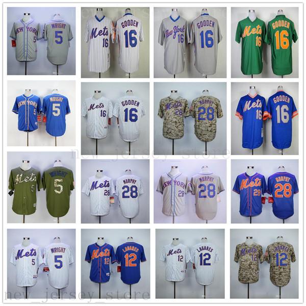 2019 New Mets Baseball 5 David Wright 12 Juan Lagares 16 Dwight Gooden 28 Daniel Murphy Jerseys Azul Verde Gris Camo Blanco Hombres Mujeres Jóvenes
