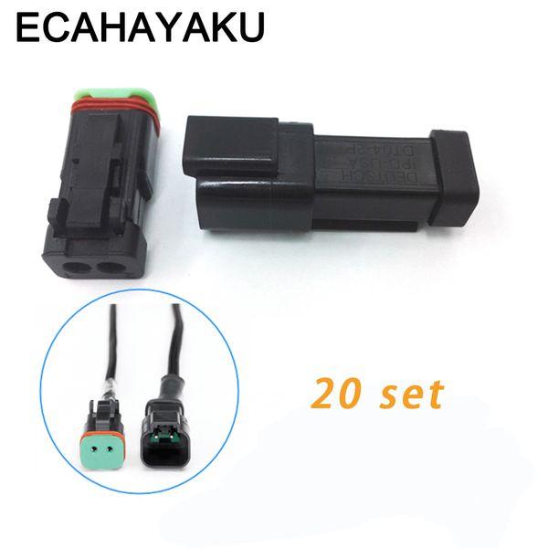 ECAHAYAKU Black 20 sets Kit 2 Pin Waterproof Electrical Wire Connector Plug off-road Deutsch connectors 22-16AWG DT06-2S DT04-2P