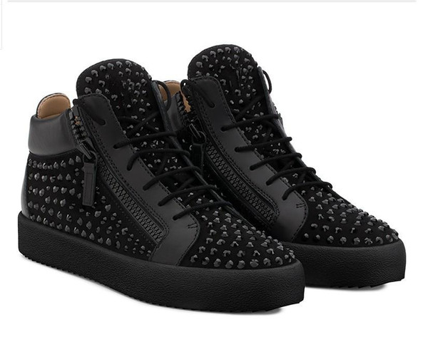 Nuevo 2019 para mujer para hombre Charol Winered con pana remiendo top del punto bajo doble cremallera zapatillas de marca zapatos casuales 35-46Drop envío M24